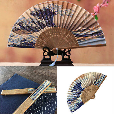 Japanese Series Silk Bamboo Wave Folding Hand Held Fan Wedding Dancing Gift AU