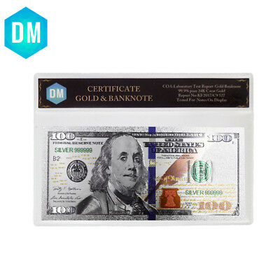 Holiday Gifts New Usd 100 Silver Banknote Creative Art Ornament with COA Frame