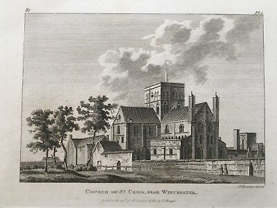 1783 Antique Print; Hospital of St Cross, Winchester after Grose