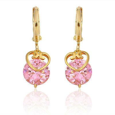 18k gold filled Ancient Royal Elegant Eardrop Fashion Earrings with Pink Zircon