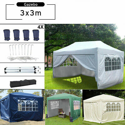3x3m Waterproof Garden Pop Up Gazebo, Free Carry Bag & 4 Leg Weights Bag
