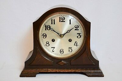 ANTIQUE 1920s OAK CASED JACOBEAN REVIVAL TWO TRAIN STRIKING MANTEL CLOCK