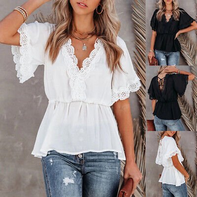 Women's Long Bell Sleeve Ruffles Asymmetrical Hem Loose Casual Tops Shirt Blouse