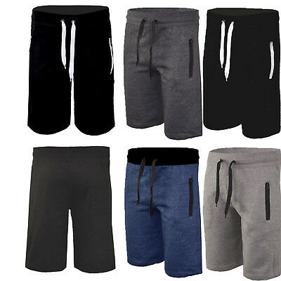 Mens Gym Joggers Shorts Elasticated Waist Running Zip Pocket Half Pants Trousers