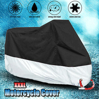 XXXL Waterproof Motorcycle Ourdoor Cover Rain Dust Sun Motorbike Protector Large