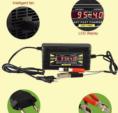 12V 6A Smart Fast Lead-acid Battery Charger for Car Motorcycle LCD Display EU/US