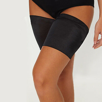 Anti Chafing Black Non Slip Elastic Thigh Bands Inner Leg Comfort Running Sports