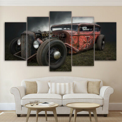 Antique Hot Rod Vintage Car Painting 5 Panel Canvas Print Poster Wall Art