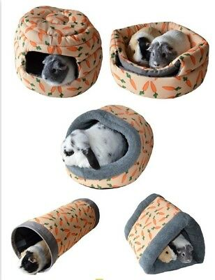 Snuggle Luxury Carrot Soft Plush Cosy Bed, Tunnel, Beehive, Rabbits Guinea Pigs