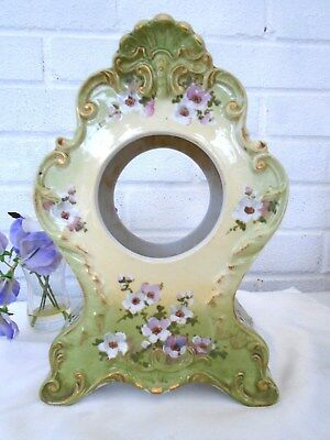 Beautiful Large Antique Hand Painted Ceramic Mantel Clock Case - Pretty Flowers