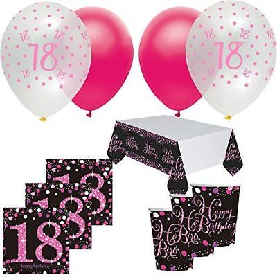 Main Colour Pink Sparkling Celebration 18th Birthday Party Tableware Decorations Balloons