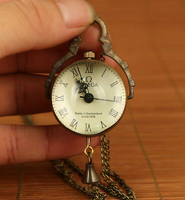 Rare Chinese  Bronze mechanical Statue pocket watch colck