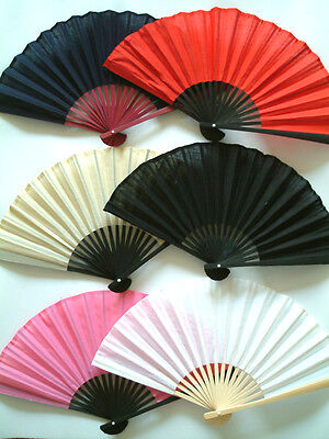 A Beautiful Women's Chinese Cotton Hand Fan 23cm when closed, for Wedding, Party