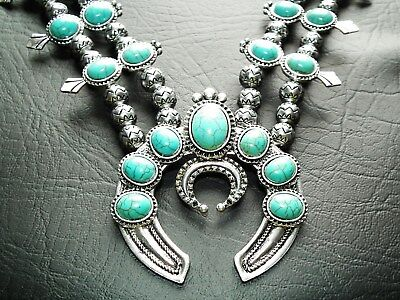 Elvis Style Turquoise and Silver Navajo necklace