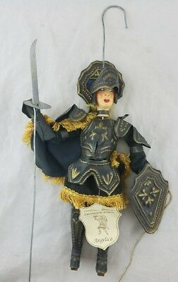 """vintage Sicilian/Italian Marionette Hand Crafted Puppet 12"""" Medieval Night DITTA"""