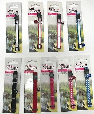 Out & About Reflective Soft Cat Collars Bell Safety Release Buckle Red Blue Pink