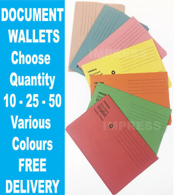 10, 25, 50 x 285gsm Cardboard Foolscap Envelope Folders Filing Document Wallets