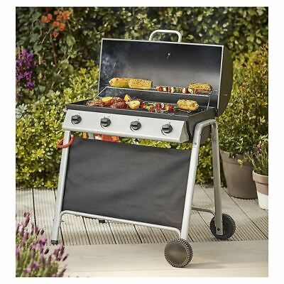 Tesco Barrel 4 Burner Gas BBQ With Cover With Thermometer