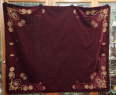 Early Antique Voided and Embroidered Velvet Deep Burgundy Table Cover