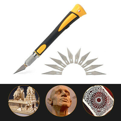 Wood Carving Pen Paper Cutter Sculpting Cutting Hand DIY Craft Knife + 10 Blades