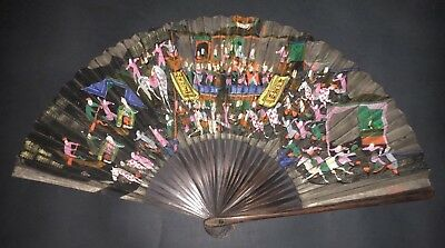 Antique Vintage Chinese Hand Painted Battle Scene View Calligraphy Fan