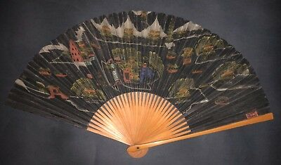 Antique Vintage Chinese Hand Painted Topographical View Calligraphy Fan