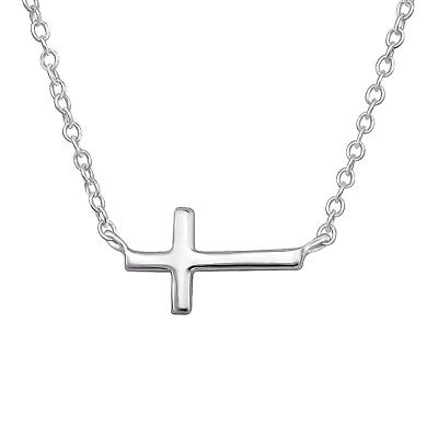 Floating Cross dainty Sterling Silver Necklace 11mm
