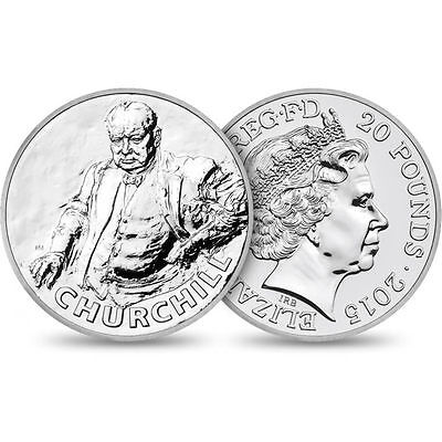 Lot of 2 2015 Sir Winston Churchill Commemorative UK £20 Silver Coin Ltd Mintage