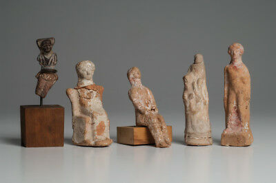 A Collection of 5 Greek Pottery Figures Ca. 3rd-5th Cent. B.C.