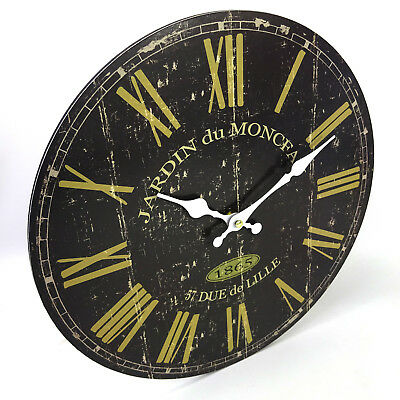 Black Gold Wall Clock, Vintage Style, Large, 34cm, Classic Rustic Look, AA