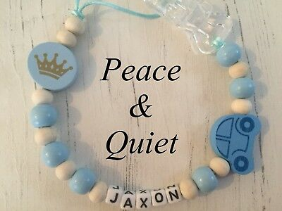 Personalised Dummy Clip💙Wooden💙crown💙Dummy Chain💙Blue💙natural💙boy #PWP