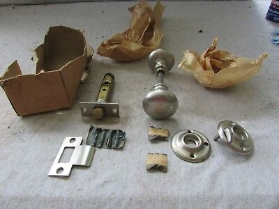 VTG NOS Russwin Privacy Door Knob Set Satin Nickel w/ rosettes 300 400 730