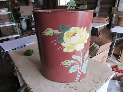 Vintage Ransburg Usa Hand Painted Metal Trash Can Flowers 13 Tall Lot 18 20