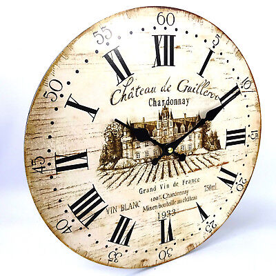 Chardonnay French Wall Clock, Vintage Style, Large, 34cm, Wine, Rustic Look, AA