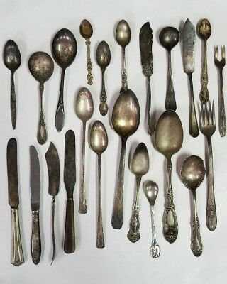 Lot of Vintage Silverplate utensils (mostly ornate spoons) for crafting