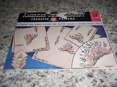 Vintage Transfer Patterns Embroidery Pillow Cases Towels Table Cloth