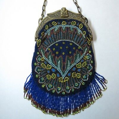 Antique Vintage Beaded Purse Celluloid Frame Egyptian Revival Design