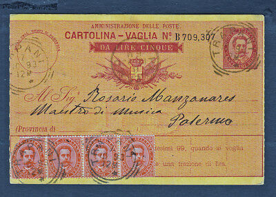 Italy..Postal Card 1893 Multi Franked w/Squared Circle Cancels..#942y