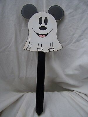 """2012 DISNEY Halloween Decoration MICKEY MOUSE GHOST Outdoor Wood Yard Stake 15"""""""
