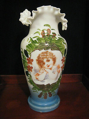 "Victorian Hand Painted Bristol Glass Vase 10 1/2 "" Tall Antique"