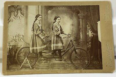 Lawler, Iowa-Cabinet Card 1898-Twin Girls on Tandem Bicycle by Eskildsen IA