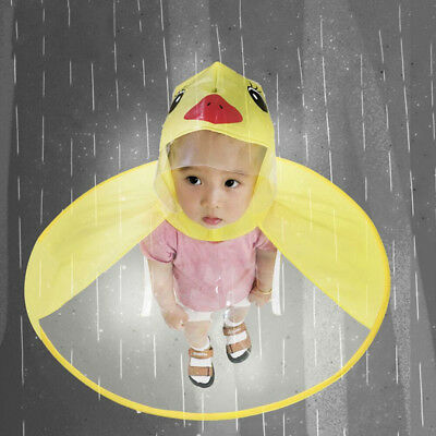 11fc6fe0765af Toddler Girl Cute Rain Coat Children Umbrella Hat Magical Hands Free  Raincoat N9