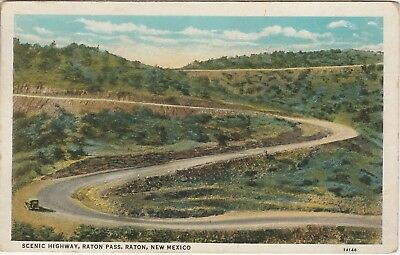 1936 Highway Raton Pass New Mexico NM Postcard White Linen Teich