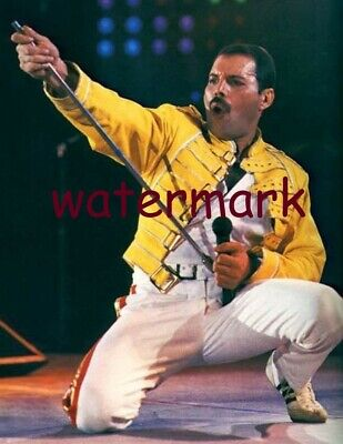 Freddie Mercury Performing On Stage In Concert W/ Queen In Yellow Jacket  Photo
