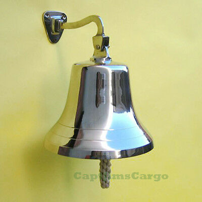 "Chrome Solid Brass Ship's Bell 8"" w/ Bracket Nautical Marine Hanging Wall Decor"