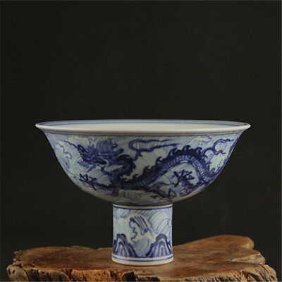 Fine Chinese Ming Blue&White Porcelain Dragon High foot bowl
