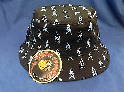 Baby Blue Oilers Printed Black Full-Brim Bucket Hat ONE SIZE Piranha Records d40aa4583f68
