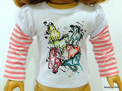 """PINK & WHITE Horses LS Graphic DOLL T-SHIRT fits 18"""" AMERICAN GIRL Doll Clothes"""
