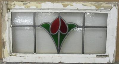 "MID SIZED OLD ENGLISH LEADED STAINED GLASS WINDOW Pretty Simple Floral 24"" x 13"""