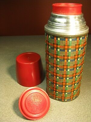 Vintage Thermos Bottle Plaid Cup Stopper Liner #2059 Holtemp Picnic Lunch
